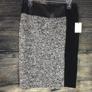 Calvin Klein Womens Tweed Faux Leather Black